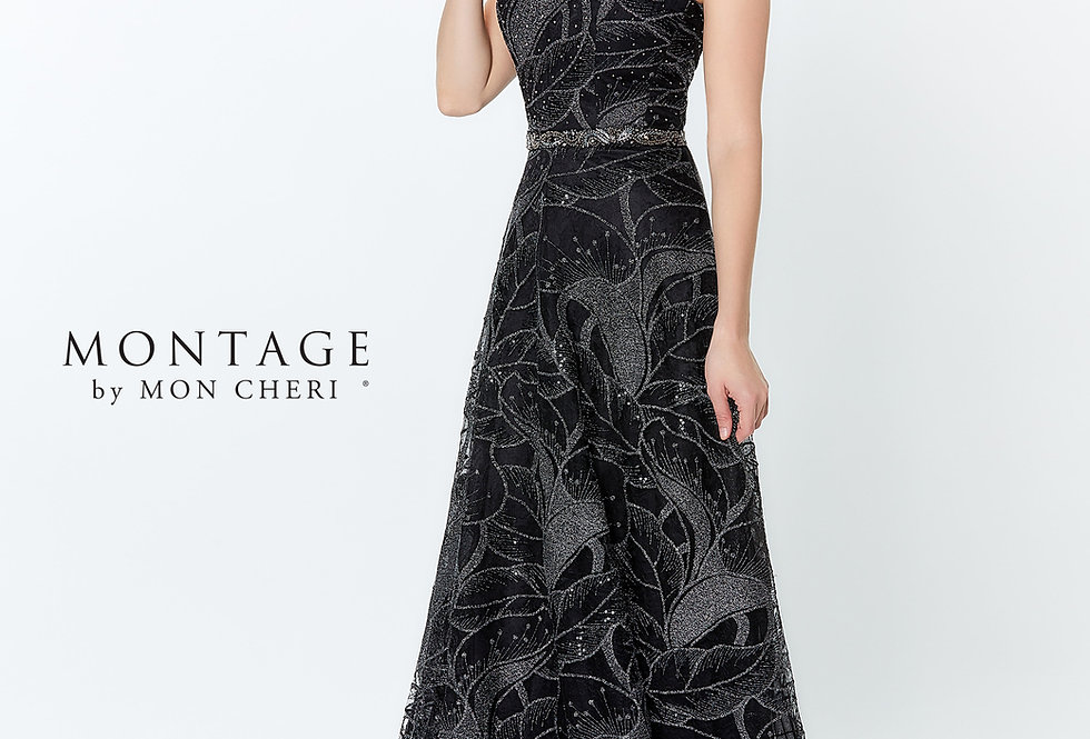 Metallic Embroidered A-Line Gown