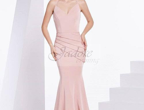 Satin Plunging V-neck Trumpet Dress