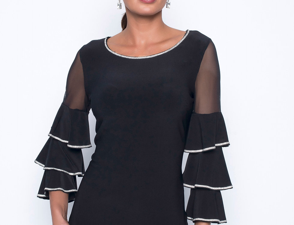 Layered Sheer Bell Sleeve Top