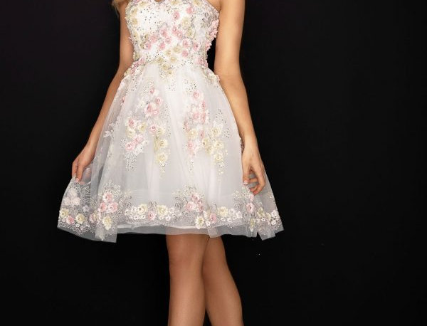 Floral Sweetheart Neckline Short Ball Gown