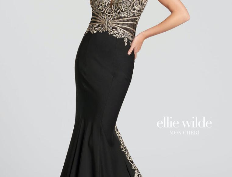 Metallic Lace Trim Gown