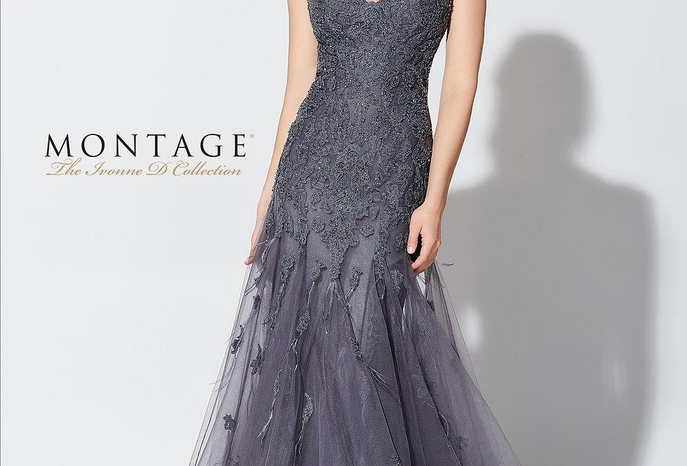 Lace Applique Tulle Trumpet Gown