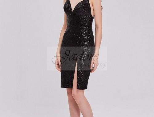 V-Neck Sequin Short Dress