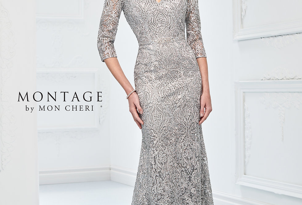 Shimmering Metallic Lace Gown