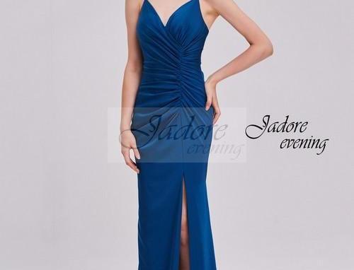 V-Neck Satin Back Crepe Dress