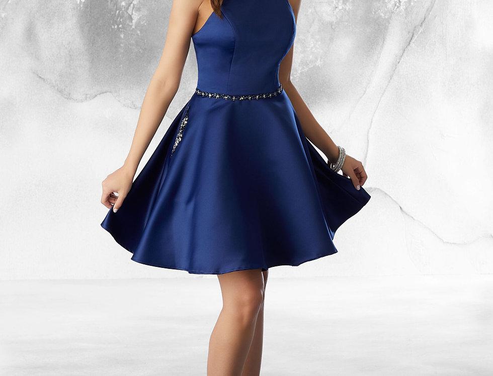 Satin Dress with Beading