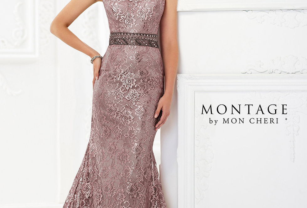 Metallic Lace Trumpet Gown