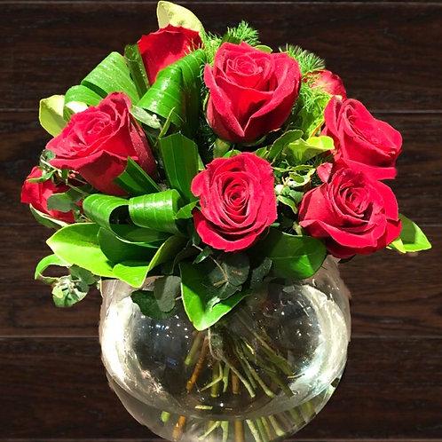 12 Roses in Fishbowl
