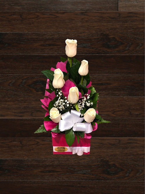 6 Roses In A Box