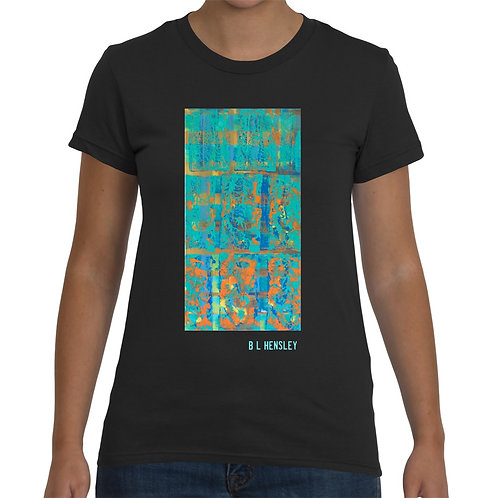 Teal Abstract Ladies T-Shirt