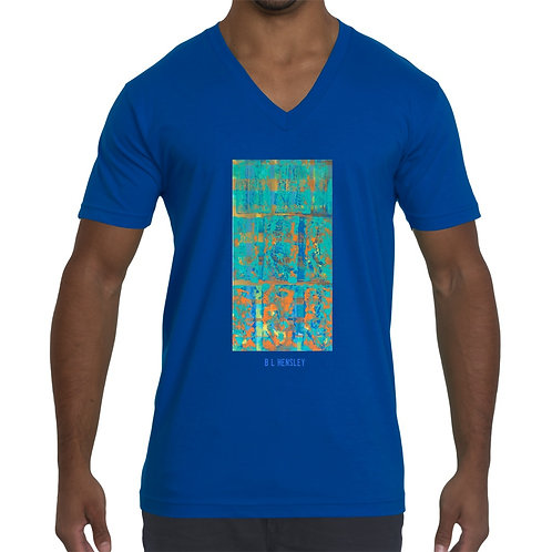 Teal Abstract Unisex V Neck