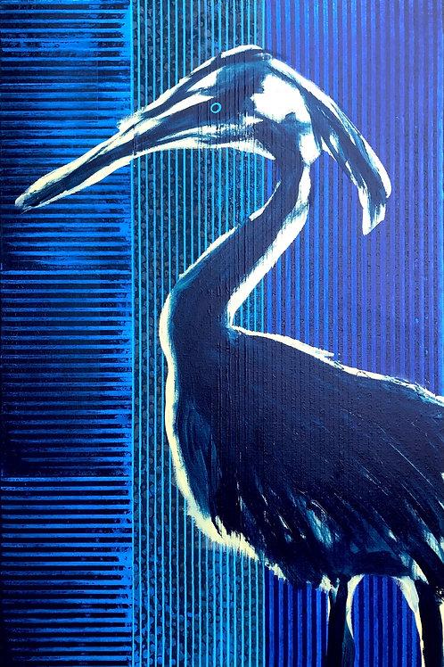 """Handsome Heron 36""""x24"""""""