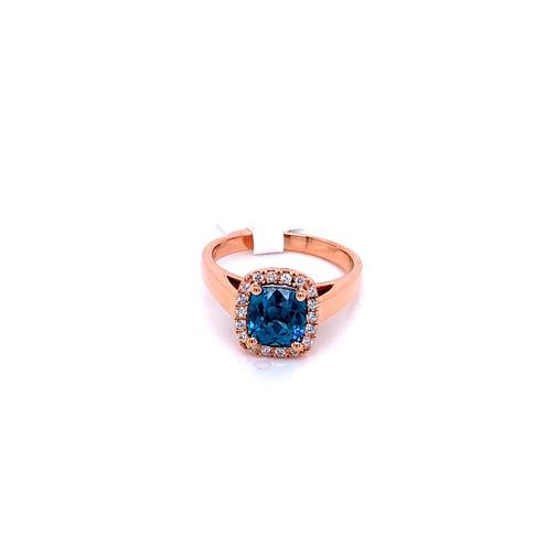Rose Gold Blue Zircon Ring