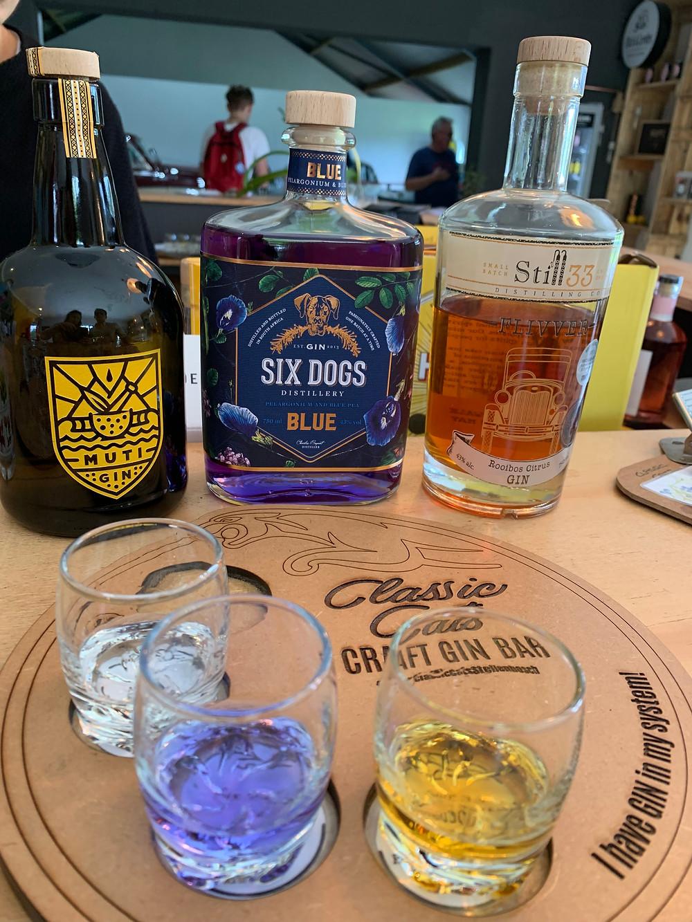 Gin tasting choices at Classic Cats Craft Gin Bar at Vredenheim