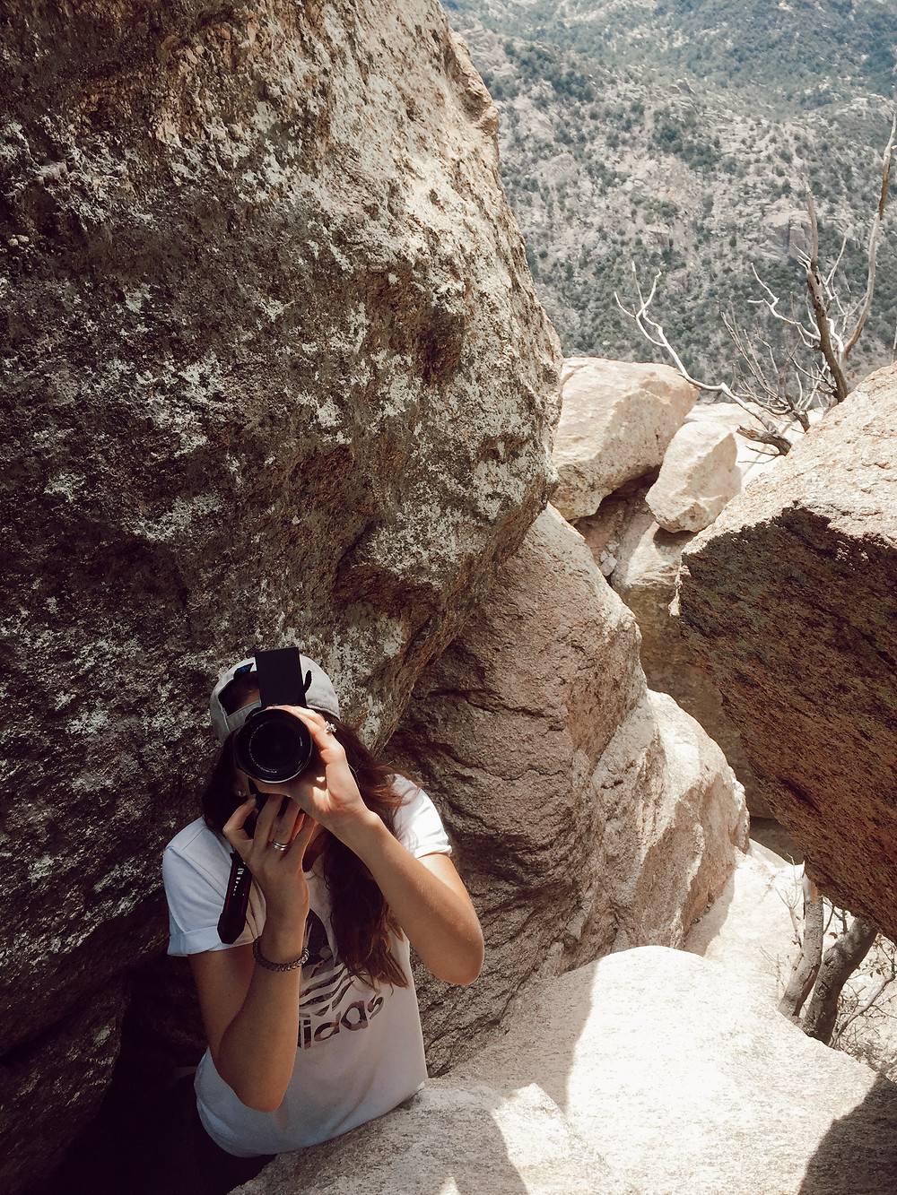 Hiding between the rocks on Mt Lemmon taking photos