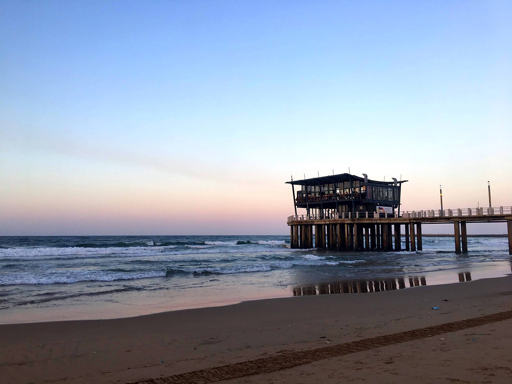 uShaka beach at sunset