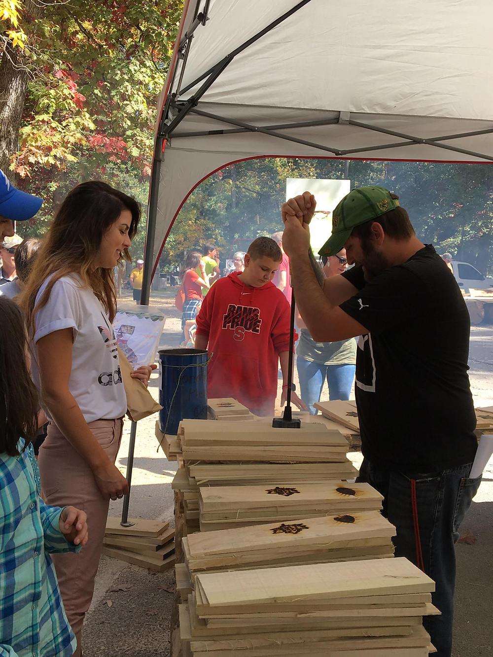 Elkins Fall Festival wood stamping