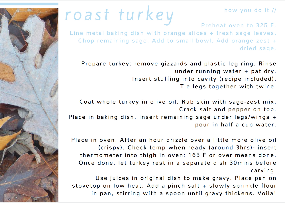 Thanksgiving recipe card: Turkey cooking instructions