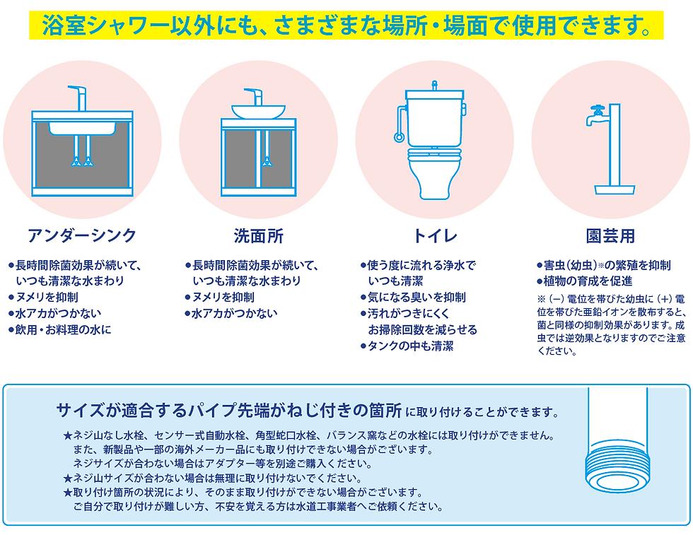 浴室シャワー以外にも、さまざまな場所・場面で使用できます。