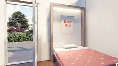 bed and open door (studio)