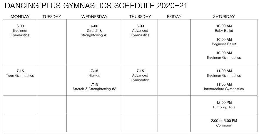 dance and gymnastics class schedule