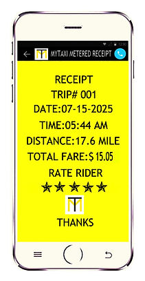 My-tti user trip receipt payment copy for ride on users smartphone app.