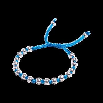 Pulseira Masculina Lank Macrame Prata Azul