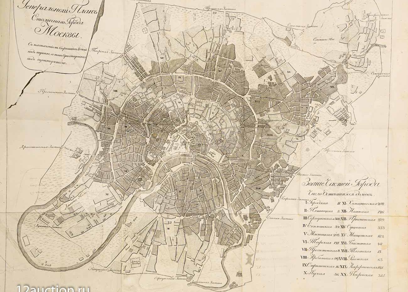 Лот 441. Карта уцелевшей в 1812 г. Москвы