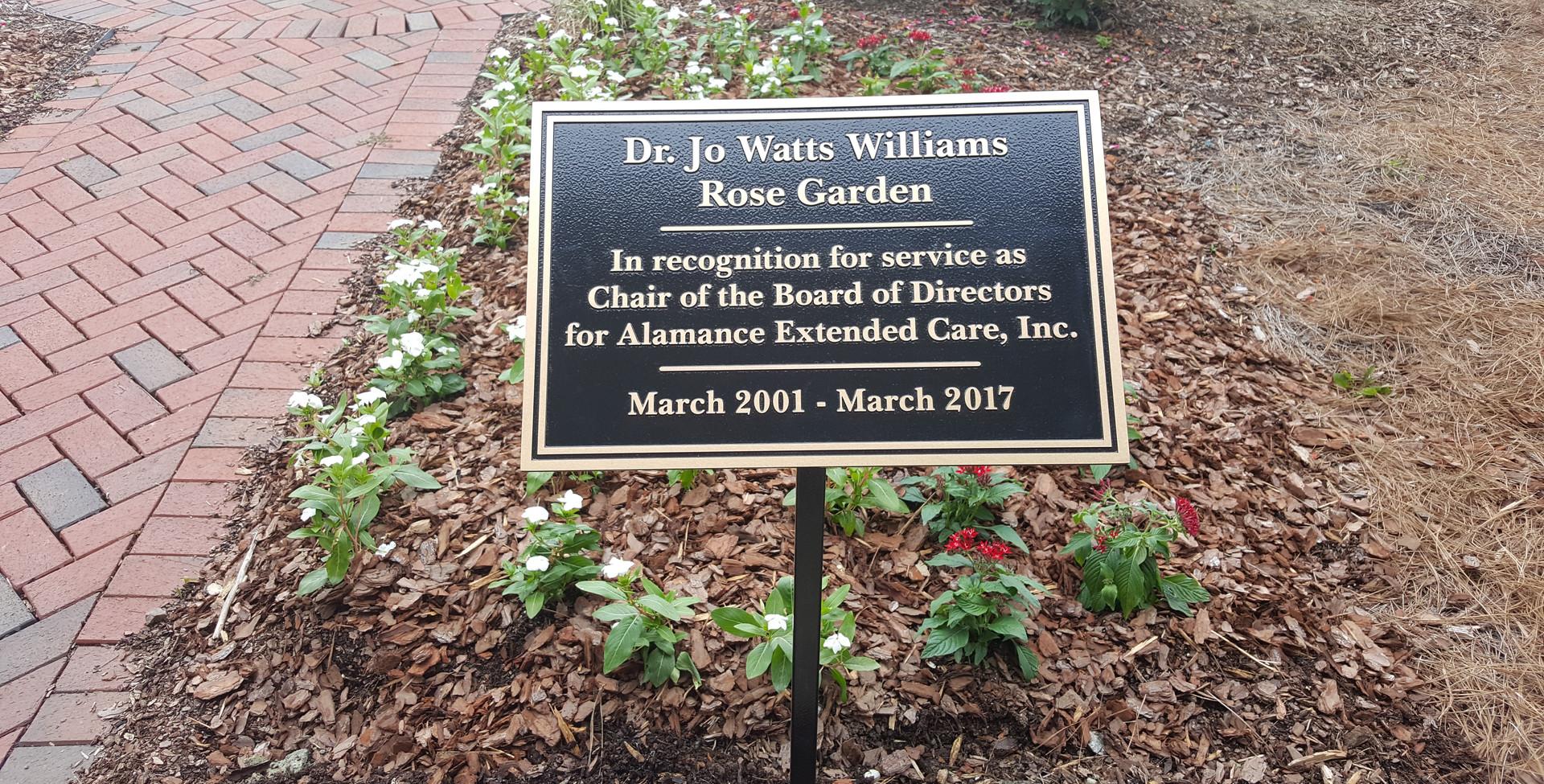 Jo Watts Williams Plaque