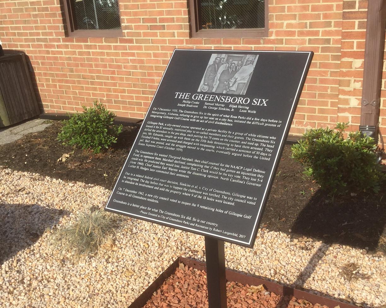 Greensboro Six Plaque