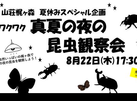 8/22(木) ワクワク真夏の夜の昆虫観察会!