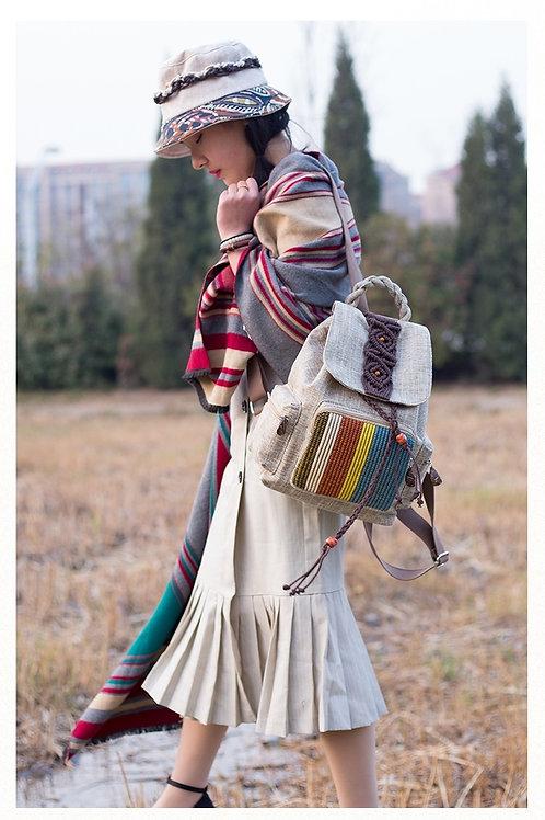 棉麻手編背包 Hand woven back bag