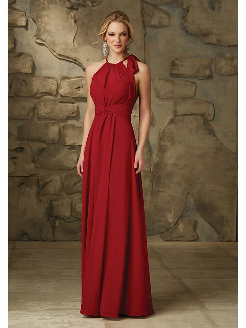 Long Red Chiffon Bridesmaid Dress
