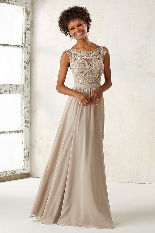 Champagne Embrioder Beading Chiffon Evening Dress