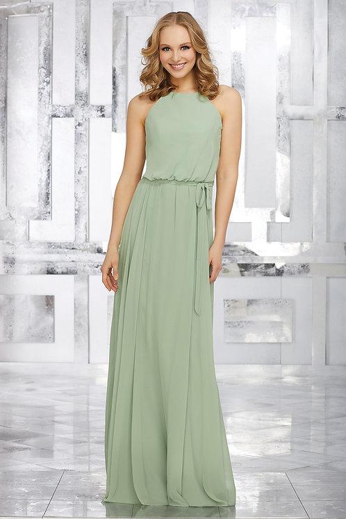 Green Chiffon A Line Bridal Gown Bridesmaid Dress