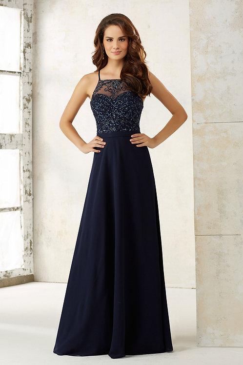 Navy Blue Chiffon Bridesmaid Dress