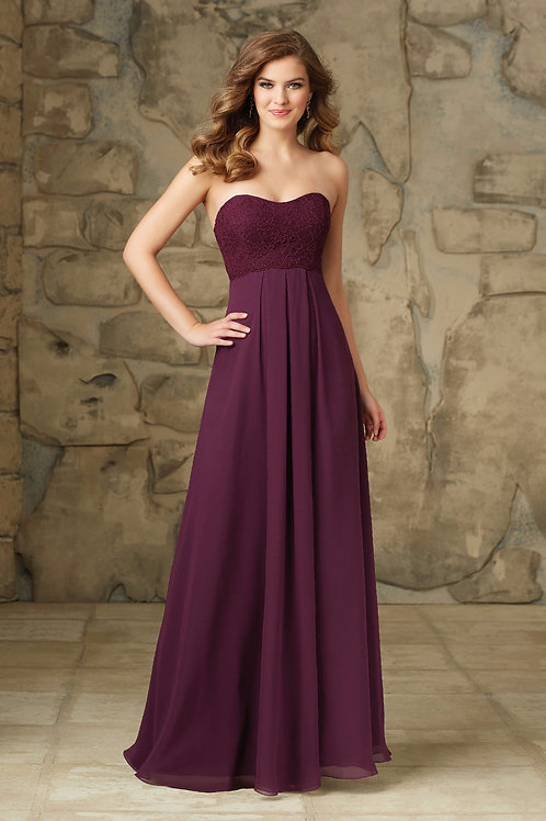 Strapless Purple Lace Chiffon Evening Floor Length