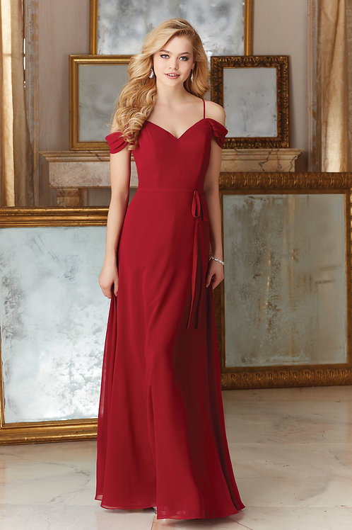 Red Chiffon A Line Bridesmaid Dress