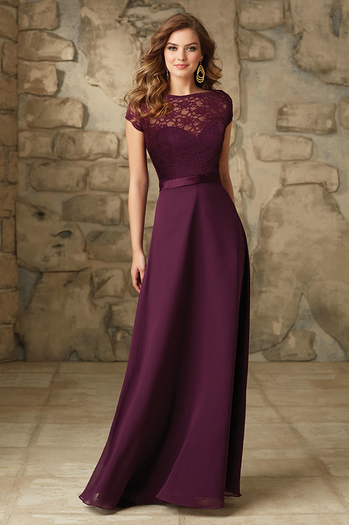 Purple Lace Chiffon Evening Gown Bridesmaid Dress