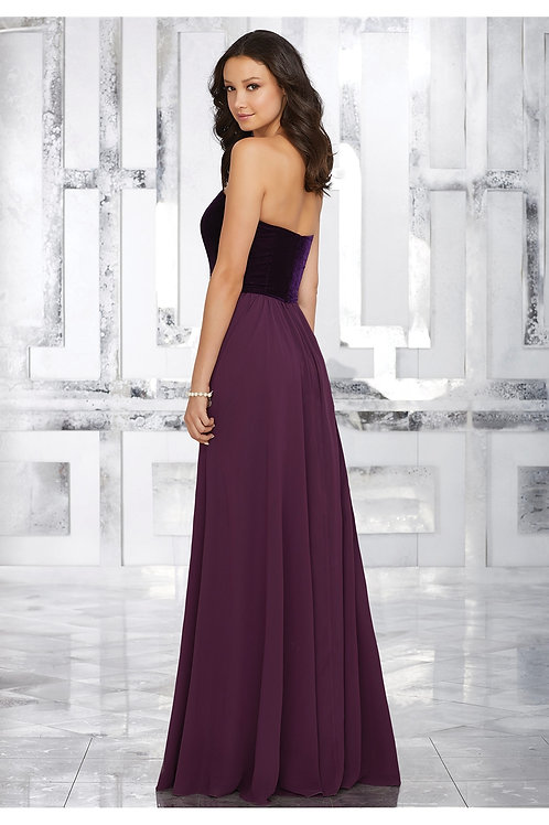 Strapless A Line Floor Length Bridesmaid Wedding Bridal Dress