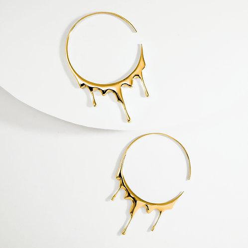 Dripping Circular L | Gold | Earrings