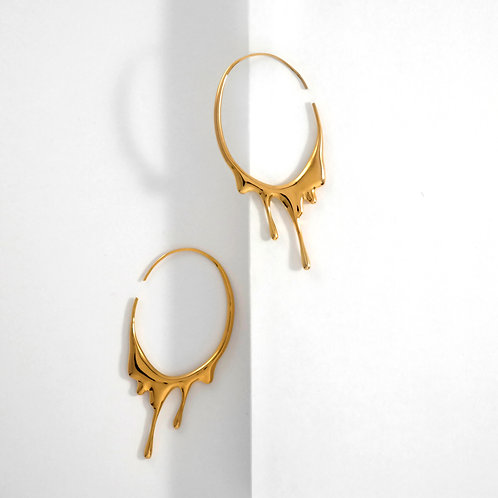 Dripping Oval M | Gold | Earrings