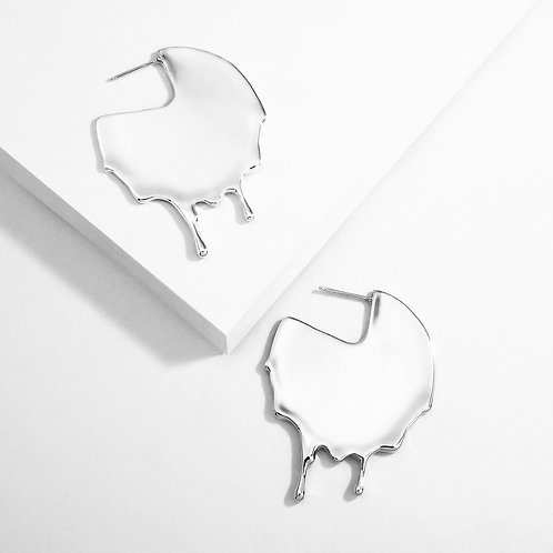 Dripping Disc | Silver | Earrings