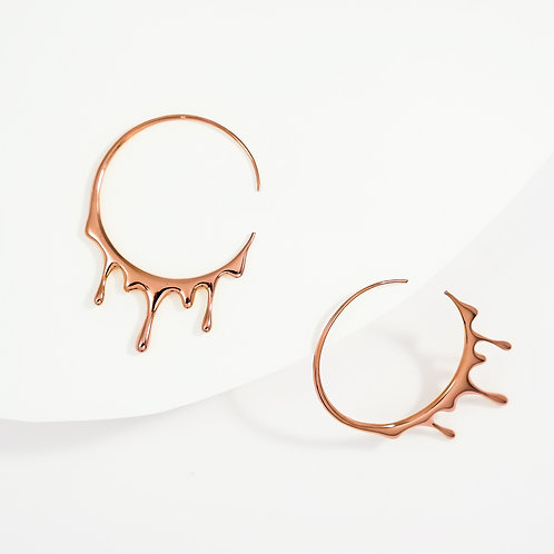 Dripping Circular M-1 | Rose Gold | Earrings