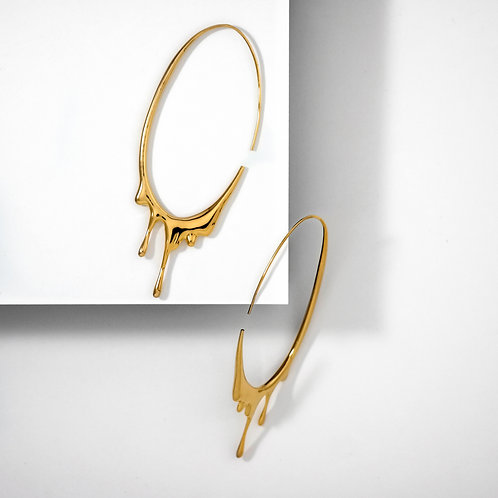 Dripping Oval L   Gold   Earrings