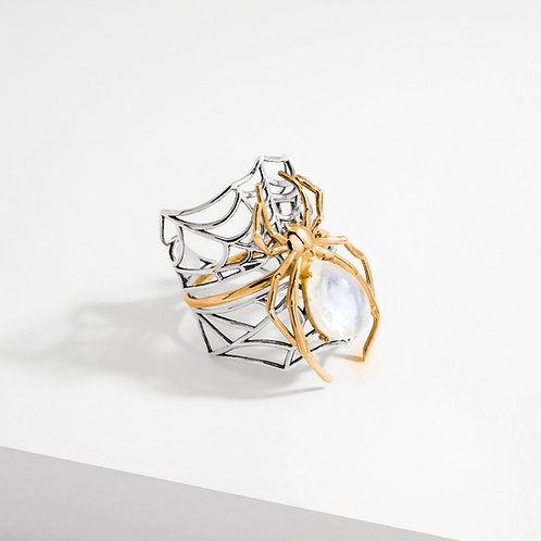 Spider & Web | Moonstone | Stacking Rings