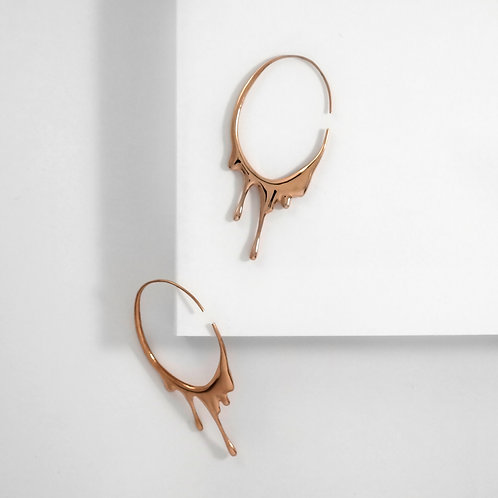 Dripping Oval M | Rose Gold | Earrings