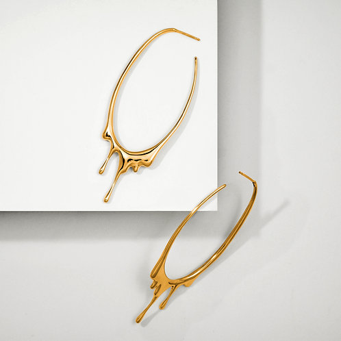 Dripping Oval L | Gold | Earrings