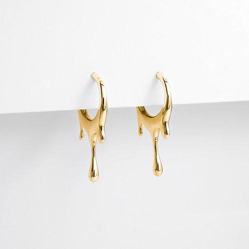 Dripping Circular S | Gold | Earrings