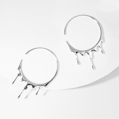 Dripping Circular L | Silver | Earrings